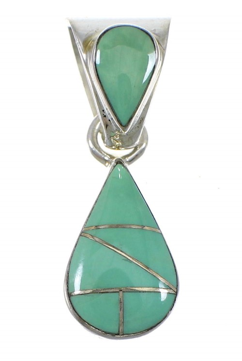 Genuine Sterling Silver Turquoise Teardrop Pendant RX77059