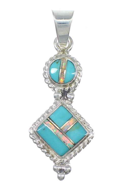 Sterling Silver Turquoise Opal Inlay Pendant AX76553