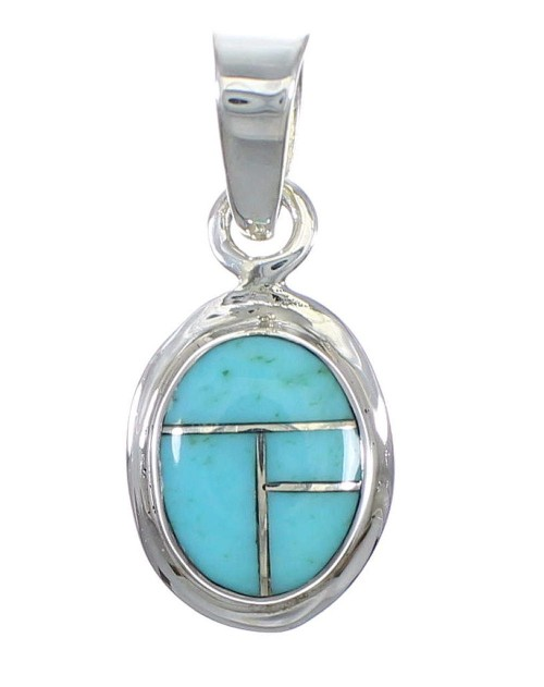 Authentic Sterling Silver Southwestern Turquoise Inlay Pendant QX77382