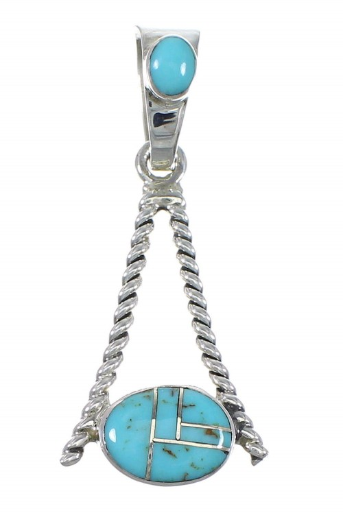 Southwest Sterling Silver Turquoise Inlay Pendant QX77398