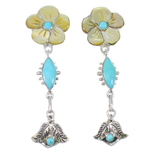 Southwest Turquoise And Yellow Mother Of Pearl Flower Silver Post Dangle Earrings WX76314