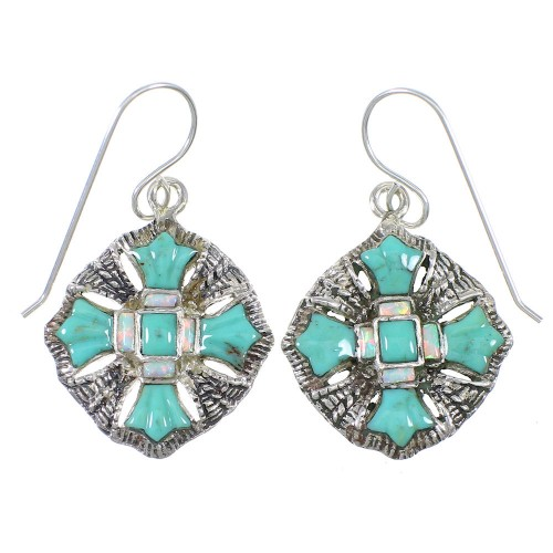 Turquoise And Opal Sterling Silver Southwestern Hook Dangle Earrings WX76410