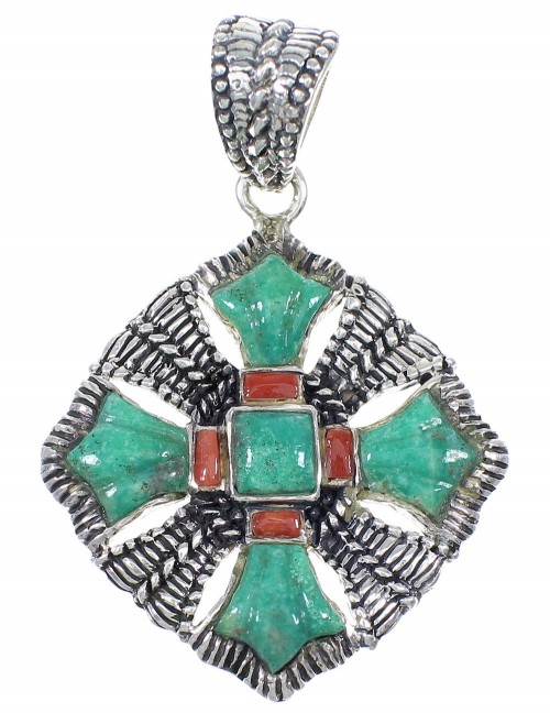 Coral Turquoise Sterling Silver Pendant YX75569