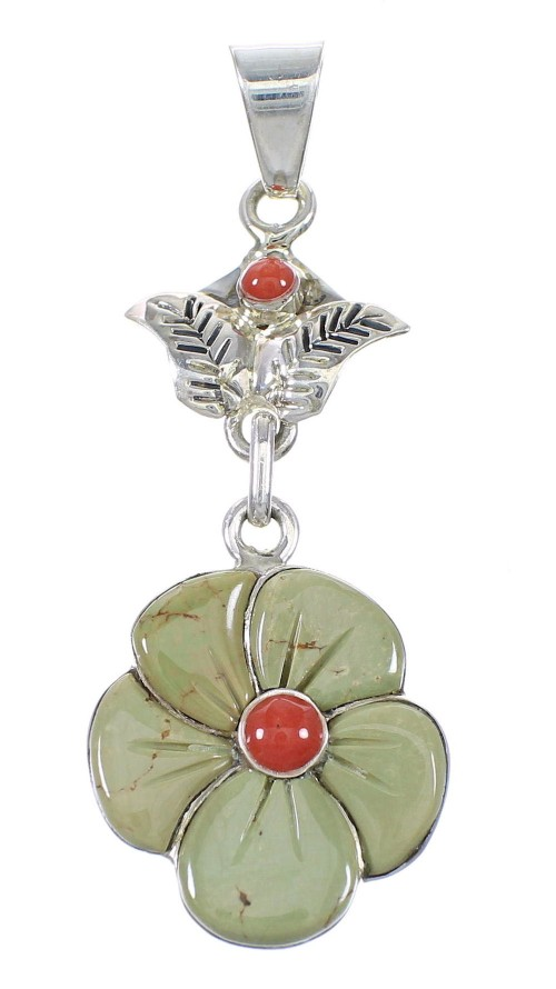 Turquoise Coral Silver Southwest Flower Pendant YX75615