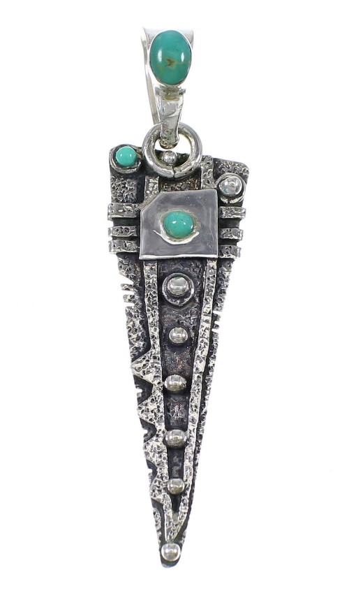 Sterling Silver And Turquoise Southwest Pendant YX75663