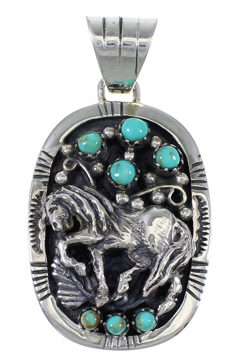 Silver And Turquoise Horse Pendant YX75688