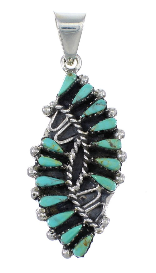 Turquoise Needlepoint And Sterling Silver Pendant YX75752