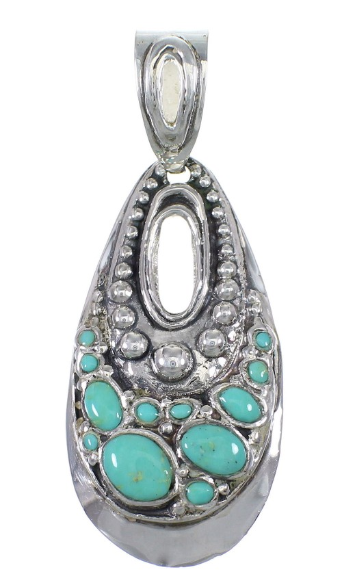 Turquoise And Genuine Sterling Silver Slide Pendant YX77417