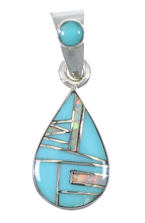 Silver Turquoise Opal Tear Drop Pendant YX76588