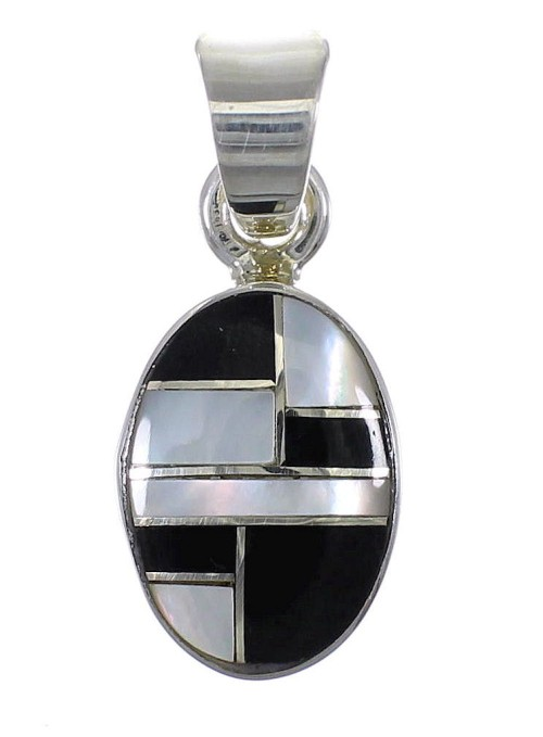 Jet Mother Of Pearl Silver Pendant YX76601