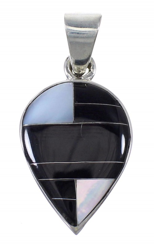 Black Jade Mother Of Pearl Sterling Silver Tear Drop Pendant YX76613