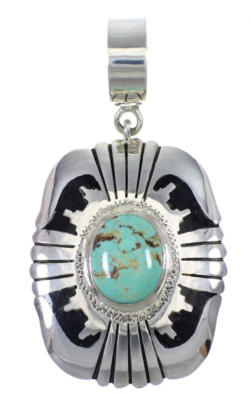 Silver Turquoise And Jet Pendant YX76626