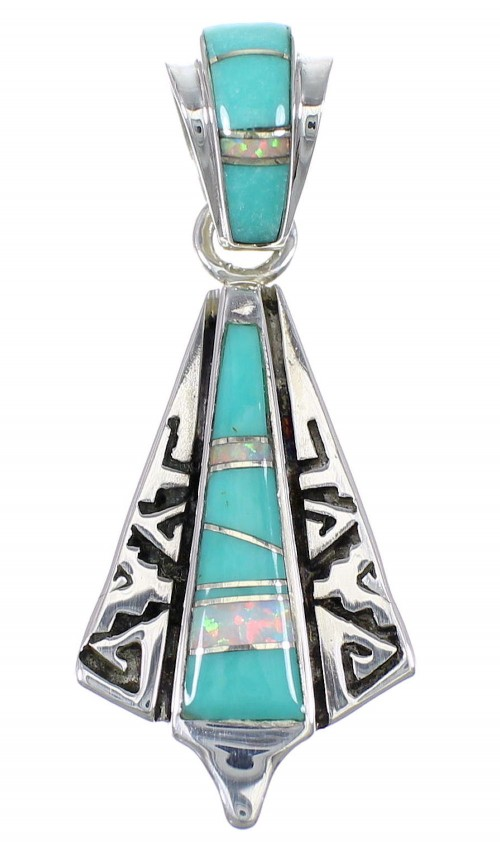 Turquoise Opal Silver Water Wave Pendant YX75995