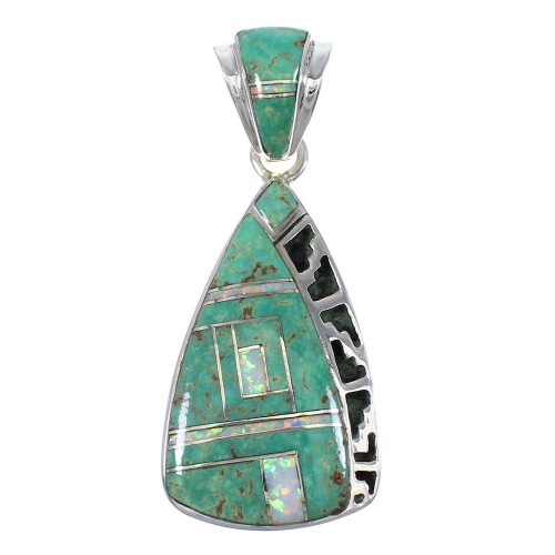 Silver Turquoise And Opal Southwestern Pendant YX76046