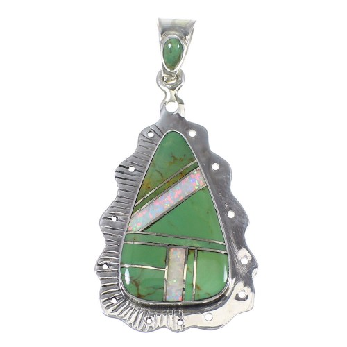 Silver Opal And Turquoise Southwest Pendant YX76058