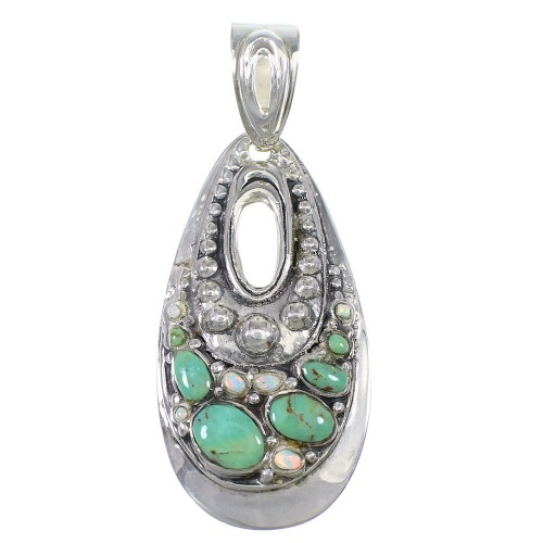 Southwestern Opal Turquoise Silver Pendant YX76144
