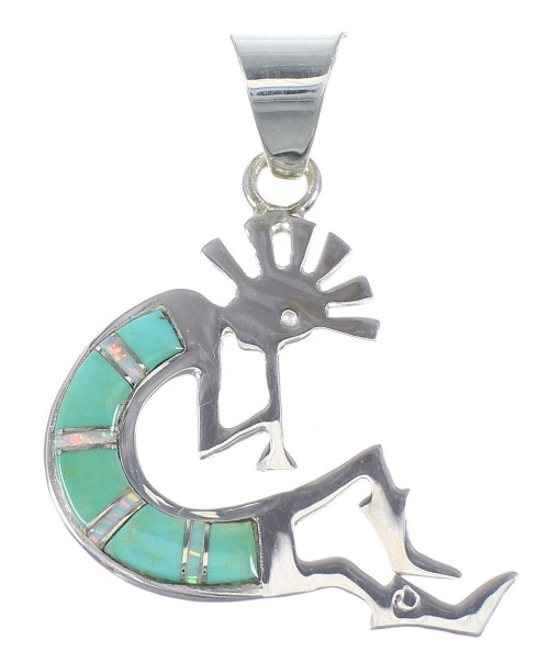 Silver Turquoise And Opal Kokopelli Pendant YX77548