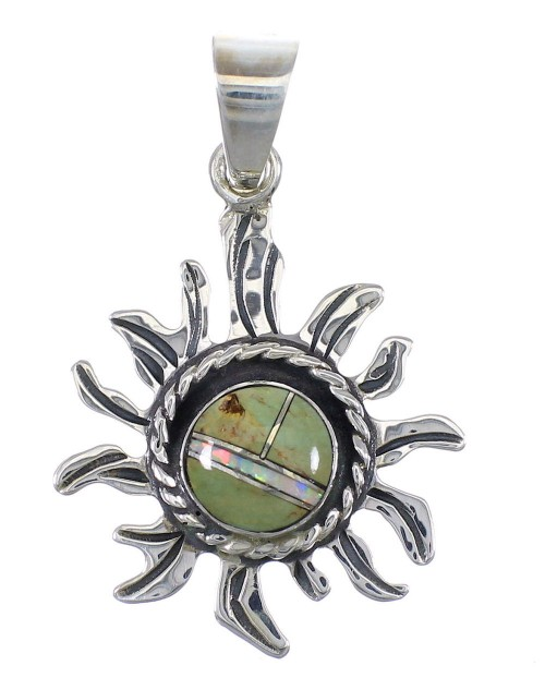 Sterling Silver Turquoise Opal Sun Pendant YX77565