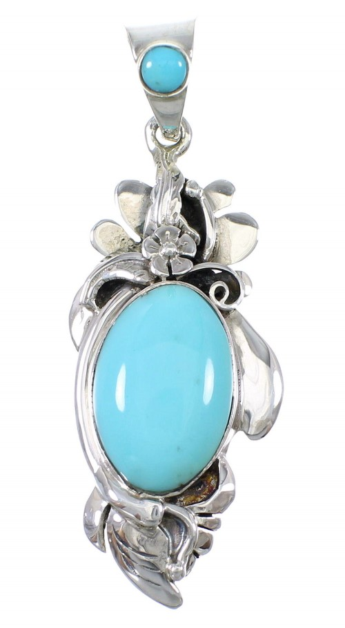 Turquoise Sterling Silver Southwestern Flower Pendant AX77033