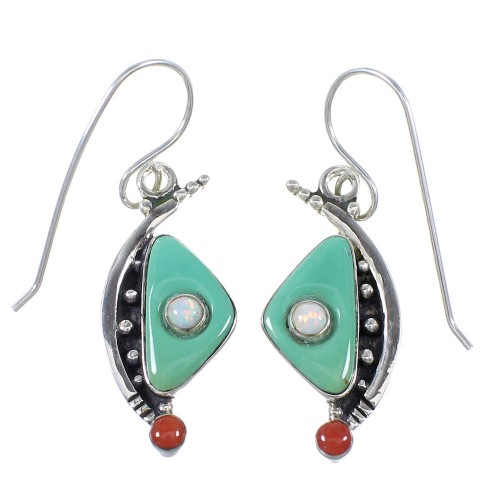 Sterling Silver Southwest Multicolor Hook Dangle Earrings QX76766