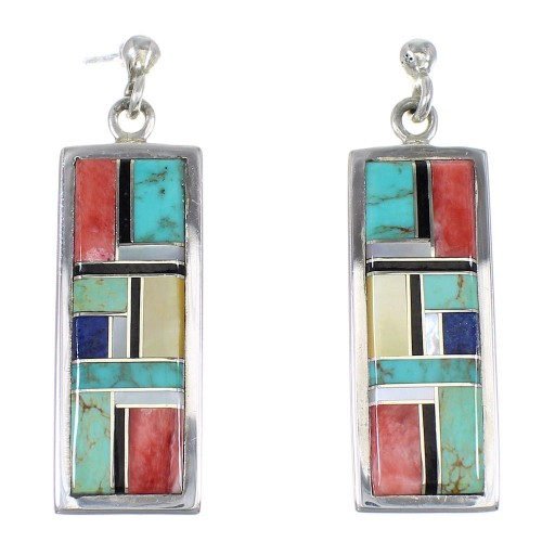 Multicolor Inlay Silver Southwestern Post Dangle Earrings QX76786