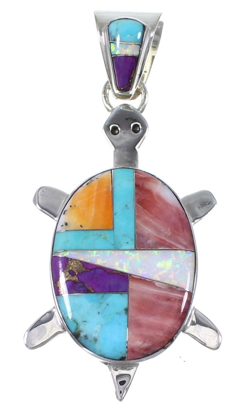 Sterling Silver And Multicolor Southwest Turtle Pendant YX77684
