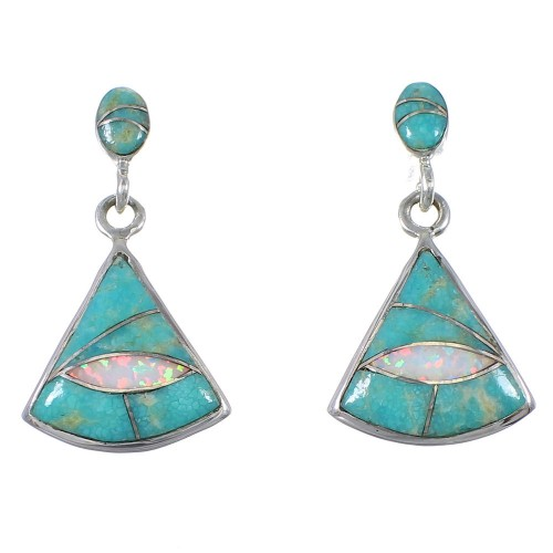 Sterling Silver Turquoise And Opal Post Dangle Earrings AX76914