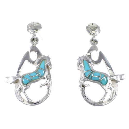 Turquoise Silver Southwest Horse Post Dangle Earrings YX76335
