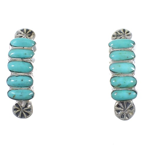 Turquoise And Silver Southwest Post Hoop Earrings YX76395