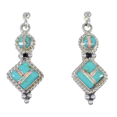 Turquoise Opal Inlay Southwestern Sterling Silver Post Dangle Earrings QX76312