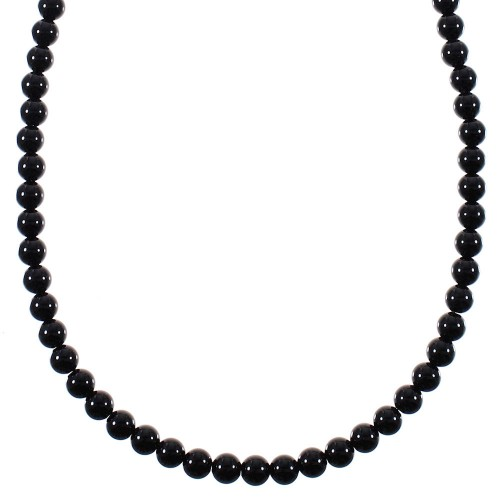 Southwest Sterling Silver Onyx Bead Necklace YX77003