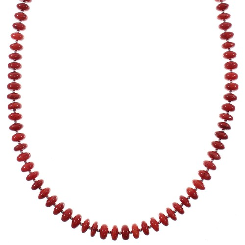 Native American Coral And Sterling Silver Bead Necklace WX76877