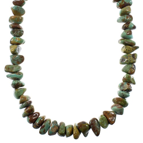 Native American Kingman Turquoise Silver Bead Necklace YX76731