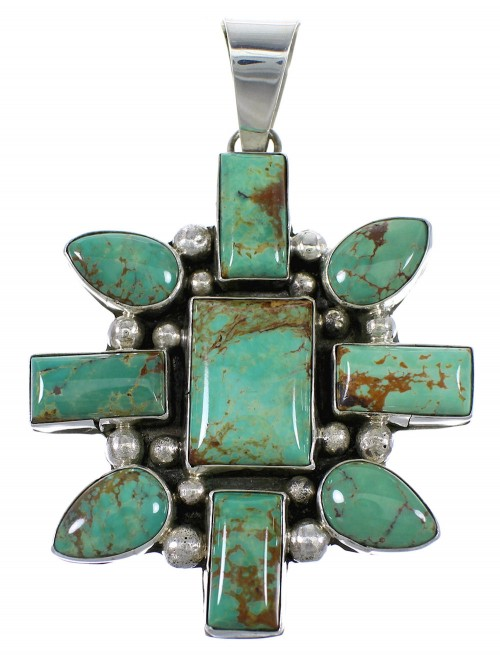 Authentic Sterling Silver Kingman Turquoise Navajo Indian Pendant YX77280