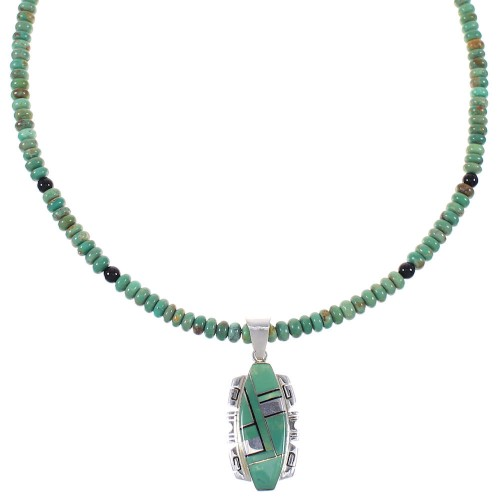 Southwest Genuine Sterling Silver Turquoise Pendant And Bead Necklace Set WX77714