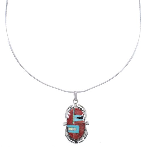 "Southwest Genuine Sterling Silver Multicolor Pendant 16"" Snake Chain Necklace WX78207"
