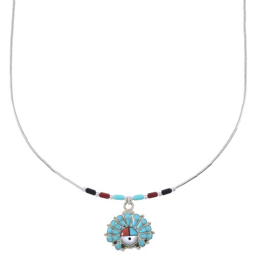Liquid Sterling Silver Multicolor Inlay Chef Headdress Necklace WX78527