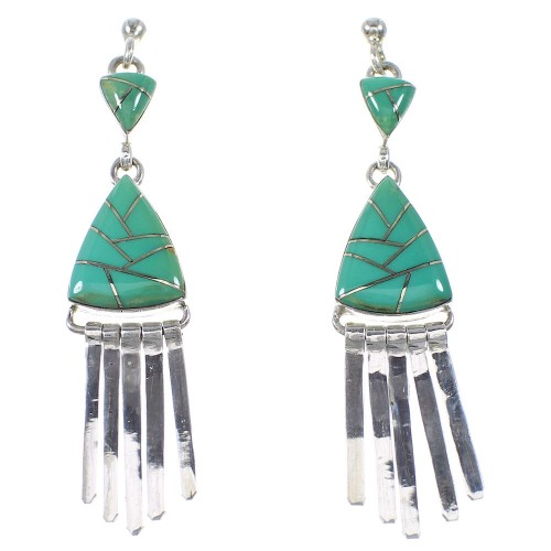 Southwest Turquoise And Sterling Silver Post Dangle Earrings WX81838