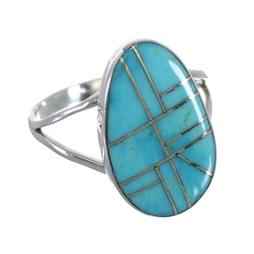 Turquoise Southwestern Jewelry Genuine Sterling Silver Ring Size 8-1/4 AX85947