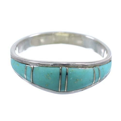 Genuine Sterling Silver Turquoise Inlay Ring Size 7-3/4 AX86200