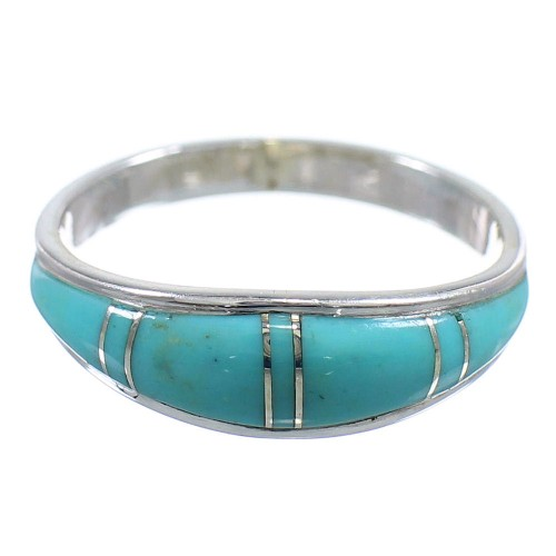 Turquoise Southwestern Silver Jewelry Ring Size 5 AX86227