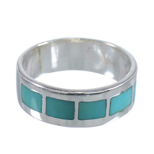 Authentic Sterling Silver Turquoise Inlay Southwestern Ring Size 6 AX86247