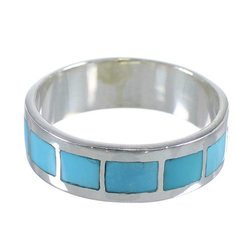 Authentic Sterling Silver Turquoise Jewelry Ring Size 5-1/2 AX86252