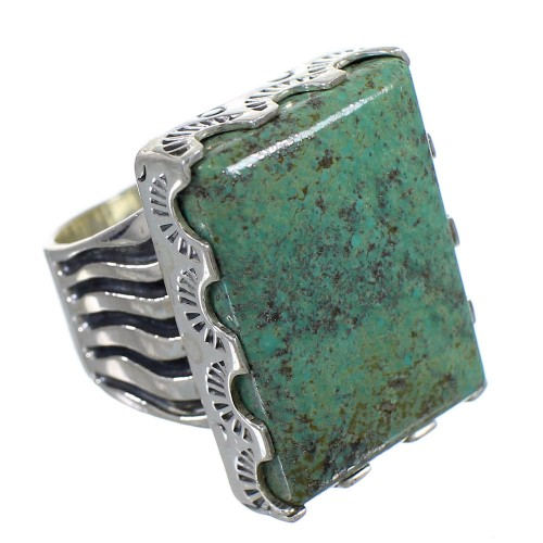 Genuine Sterling Silver Turquoise Southwestern Ring Size 5-1/4 QX85536