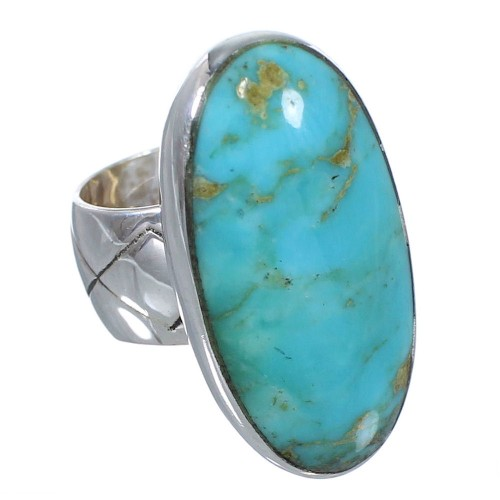 Genuine Sterling Silver And Turquoise Southwestern Ring Size 5-1/4 AX84134