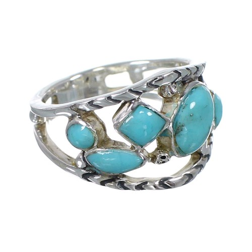 Southwestern Turquoise Jewelry Silver Ring Size 4-1/2 AX84351