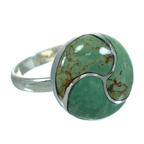 Southwest Turquoise Inlay Genuine Sterling Silver Ring Size 8-1/2 AX86278