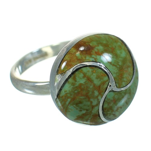 Southwest Authentic Sterling Silver Turquoise Ring Size 5-3/4 AX86304