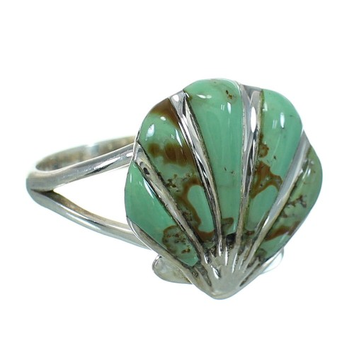 Southwestern Turquoise Inlay Sterling Silver Seashell Ring Size 6-1/2 AX86428