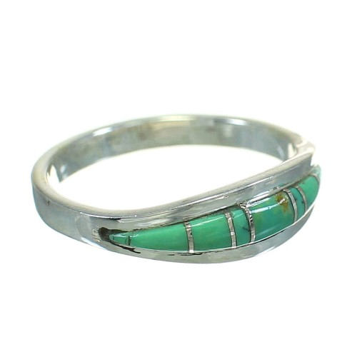 Southwestern Genuine Sterling Silver Turquoise Ring Size 5-3/4 AX86604